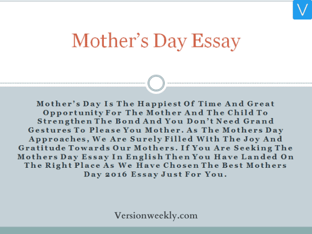 Mothers' Day Essay
